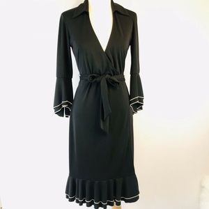 Vintage Express Bell Sleeve Wrap Dress Ruffled Hem